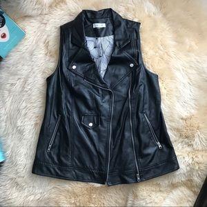 Sugarlips soft black PU leather Moto vest m